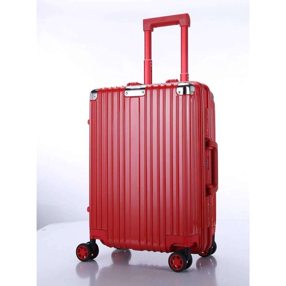 トロリーボックスユニバーサルホイールアルミフレームの荷物レトロラップスーツケーススーツケース男性と女性のビジネスパスワードボードに (Color : 赤, Size : 20 inches)   B07QZVDLV1