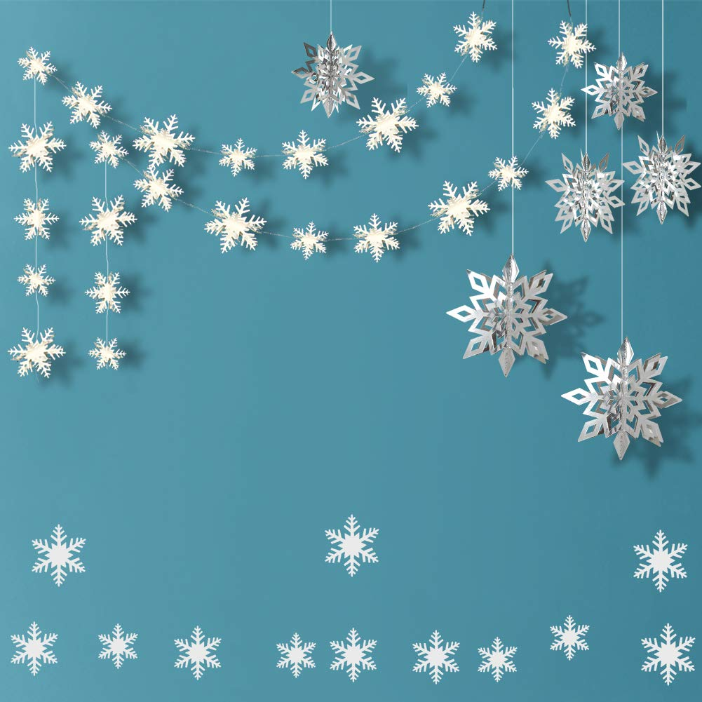 Snowflake Decoration Kit 24pcs 3D Snowflake Hanging Garland Flags & 6pcs Large 3D Snowflake Holiday Hanging Ornaments & 12pcs Sticker Value Kit for Christmas/New Year Party Decorations (White) COLORFUL DECOR