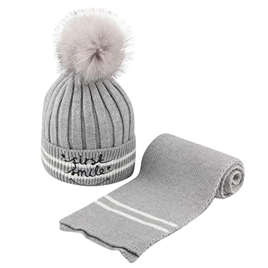 35f0002d6d7 Amazon.com  Winter Warm Baby Kids Knit Hat Scarf Set 🎅 Toddler Faux Fur  Pom Pom Embroidery Letters Beanie Hairball Suit for 2-8T (2-8 Years Old