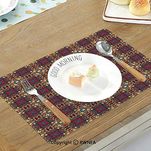 Personalized Placemats Shower Bridal - SfeatruMAT Heat Insulation Table Mats Bridal Shower Decorations Lilacs Orchids with Leaves Corner Frame Bride Party Non-Slip Heat Resistant Decor Placemat Salmon Green and Beige