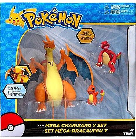 amazon com pokemon mega charizard y figure 3 pack set toys games
