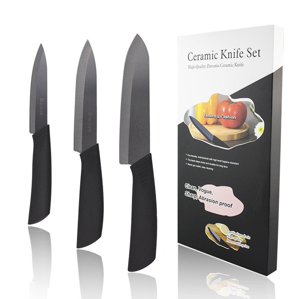 Amazon.com: Dwave Ceramic Knife Set 3-Piece (Includes 6-inch Chef\'s ...