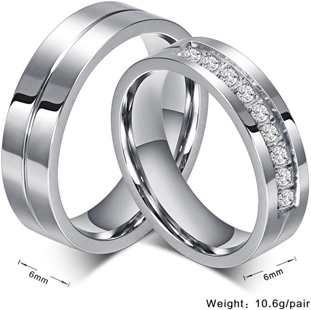 It is a picture of ROWAG 48MM Men Titanium Stainless Steel Promise Engagement Couple Wedding Bands for Him and Her Women Cubic Zirconia CZ Rings