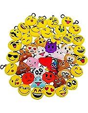 JZK 45 Mini knuffel Emoji sleutelhanger, 5cm nieuwigheid Emoji voor kinderen & volwassene verjaardag partij gunsten, partij zakvullers, feestartikelen decoraties