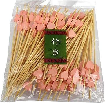 accessori 100 spiedini monouso a forma di cuore di bamb/ù cupcake dolci 12 cm torte buffet per frutta cocktail rosa