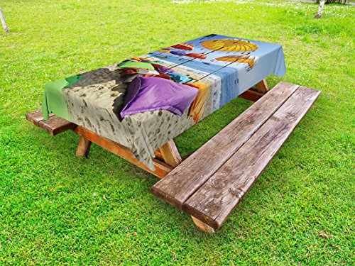 - Lunarable Balinese Outdoor Tablecloth, Pristine Beach Bathed by The Bali Sandy Seashore Daytime Umbrellas Pillows Leisure, Decorative Washable Picnic Table Cloth, 58 X 104 Inches, Multicolor