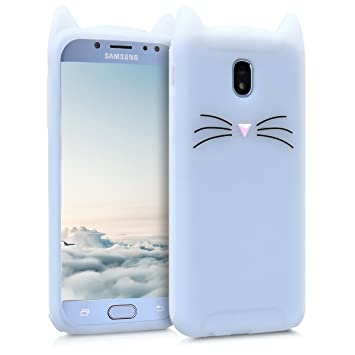 kwmobile Funda para Samsung Galaxy J5 (2017) DUOS - Carcasa Protectora de Silicona y diseño de Bigotes de Gato - Cover Trasero de móvil