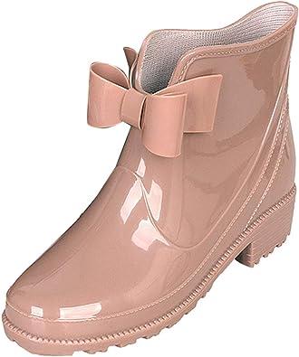 Amazon.com   LIURUIJIA Women's Low Heel Short Rain Boots Bowknot Waterproof  Ankle Booties Work Garden Outdoor Shoes CJLYX-708   Rain Footwear