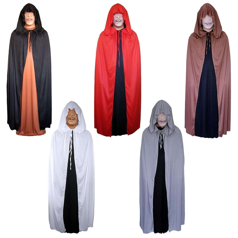 amazoncom 54 gray cloak with large hood halloween costume cape stc11571 clothing
