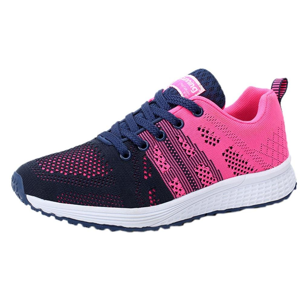 Aurorax-Shoes Clearance Sale Women's Girls Mesh Lightweight Breathable Casual Wedges Sneakers (Yoga Hot Pink, US:7)