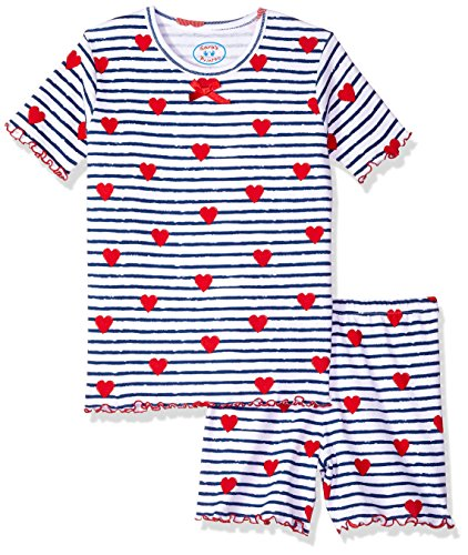 Pjs Short Fitted (Sara's Prints Little Girls' Fitted Short Pajamas, Heart Stripe, 6)