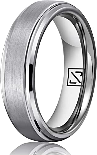 Tungsten Carbide Men/'s Women/'s Wedding Ring Brushed Silver Edge Men/'s Band