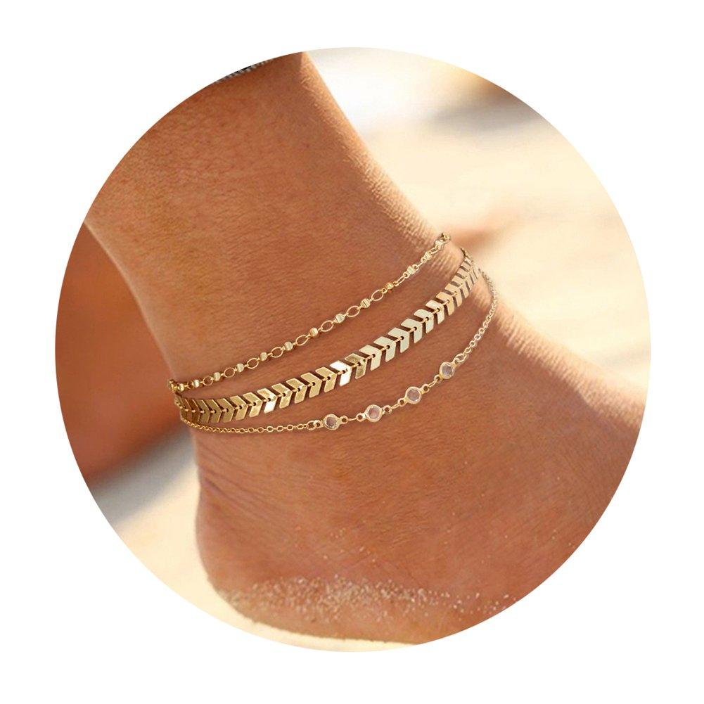 Ankles Bracelet for Women Multiple Layered Arrow Chevron Fishbone Chain Platinum Plated Handmade Beach Boho Foot Jewelry