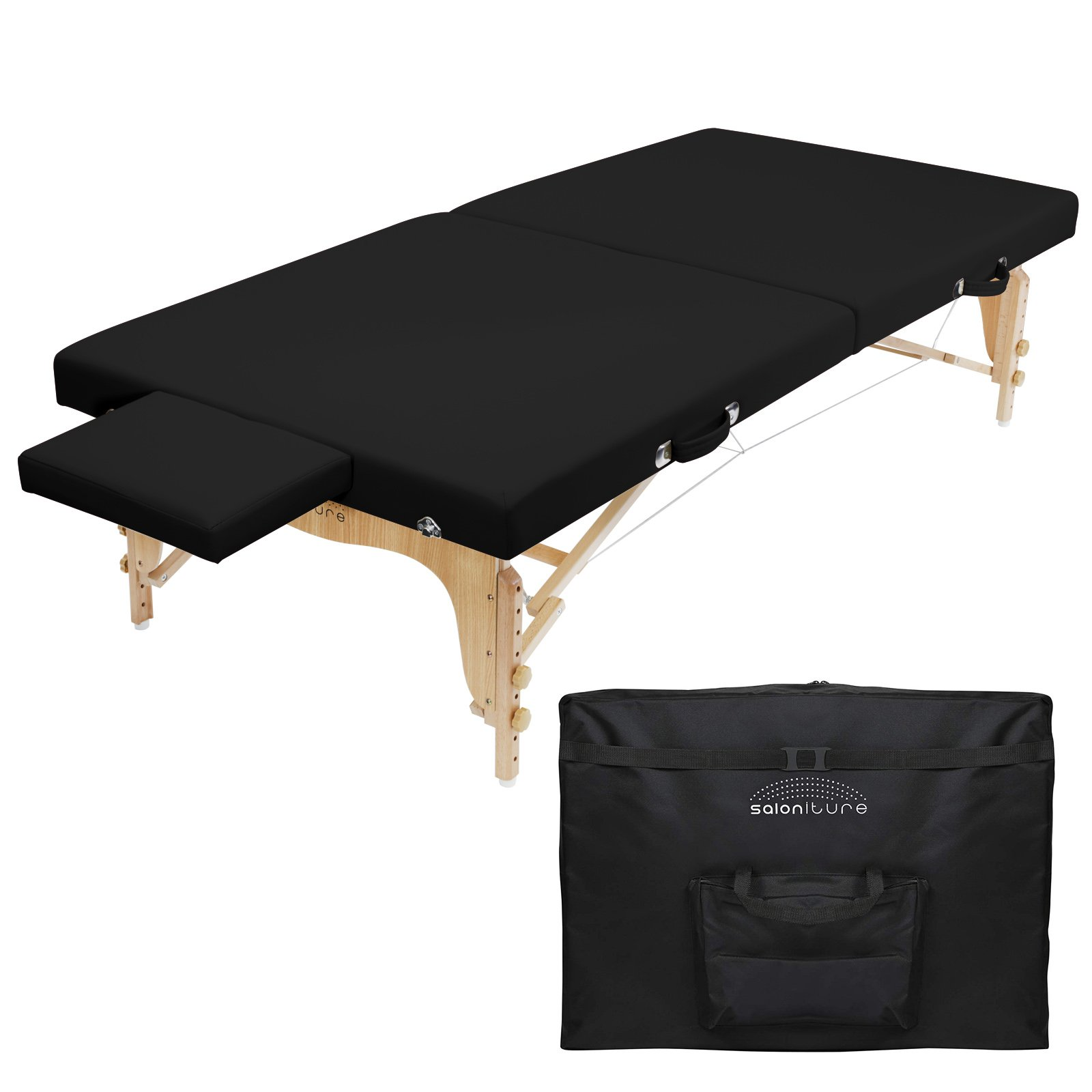 Saloniture Portable Physical Therapy Massage Table - Low to Ground Stretching Treatment Mat Platform - Black by Saloniture