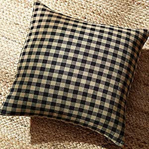 Amazon Com Farmhouse Black Check Plaid Pillow Cover 16