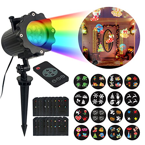 Christmas Light Projector 16 Slides Pattern Motion Snowflake with Remote Control for New Year
