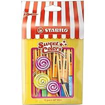 STABILO point 88 mini - Rotulador punta fina mini - Estuche edición limitada Sweet Colors con 15 colores: Amazon.es: Oficina y papelería