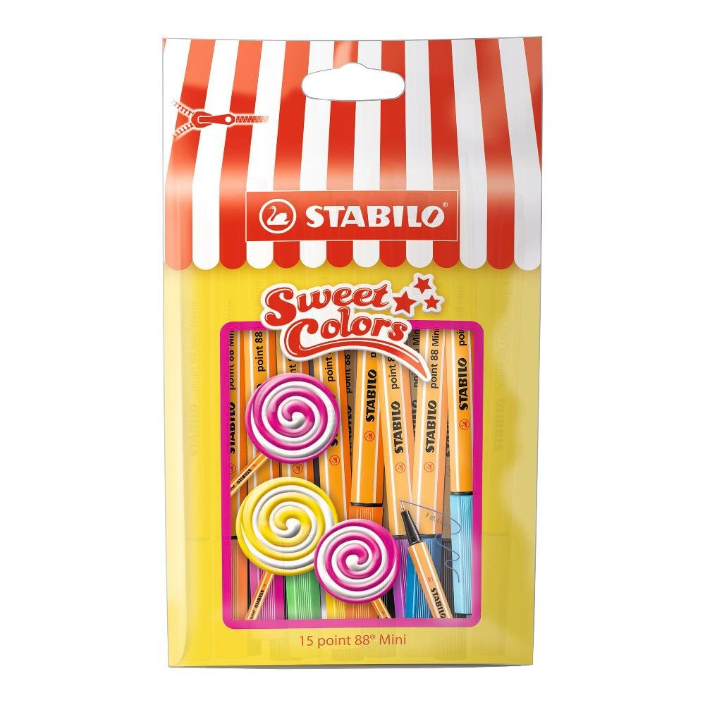 Fineliner - STABILO point 88 Mini - Sweet Colors - 15er Pack - mit ...