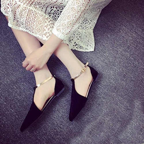 Anxinke Summer Fashion Point Toe Shoes Flat Sandals with Buckle Strap for Women Black jQqNM