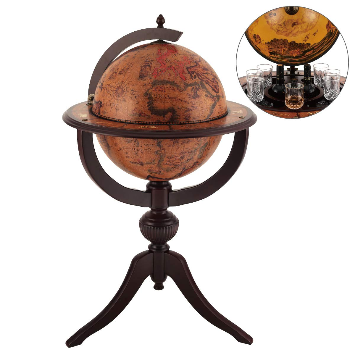 VIDAR Red Globe Wine Cooler,Earth Map Globe Bar,Sixteenth-Century Italian Replica Old World Globe Bar by VIDAR