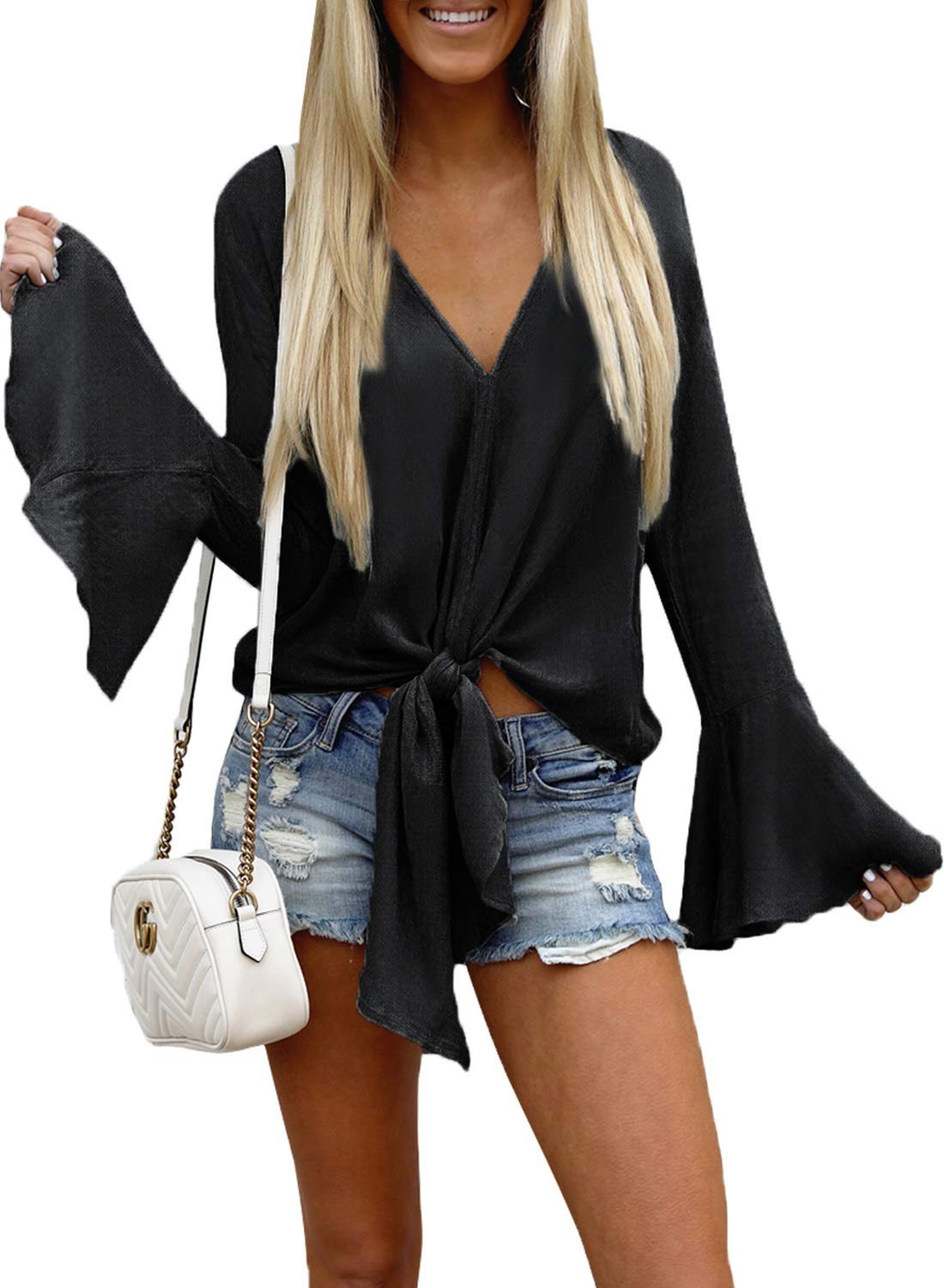 FARYSAYS Women's Casual Bell Long Sleeve V Neck Front Tie Knot T Shirt Tops Blouse Black X-Large