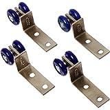 Sourcingmap a12110600ux0416-4pcs ruedas dobles de plástico azul diseño deslizante polea rodillo de puerta para