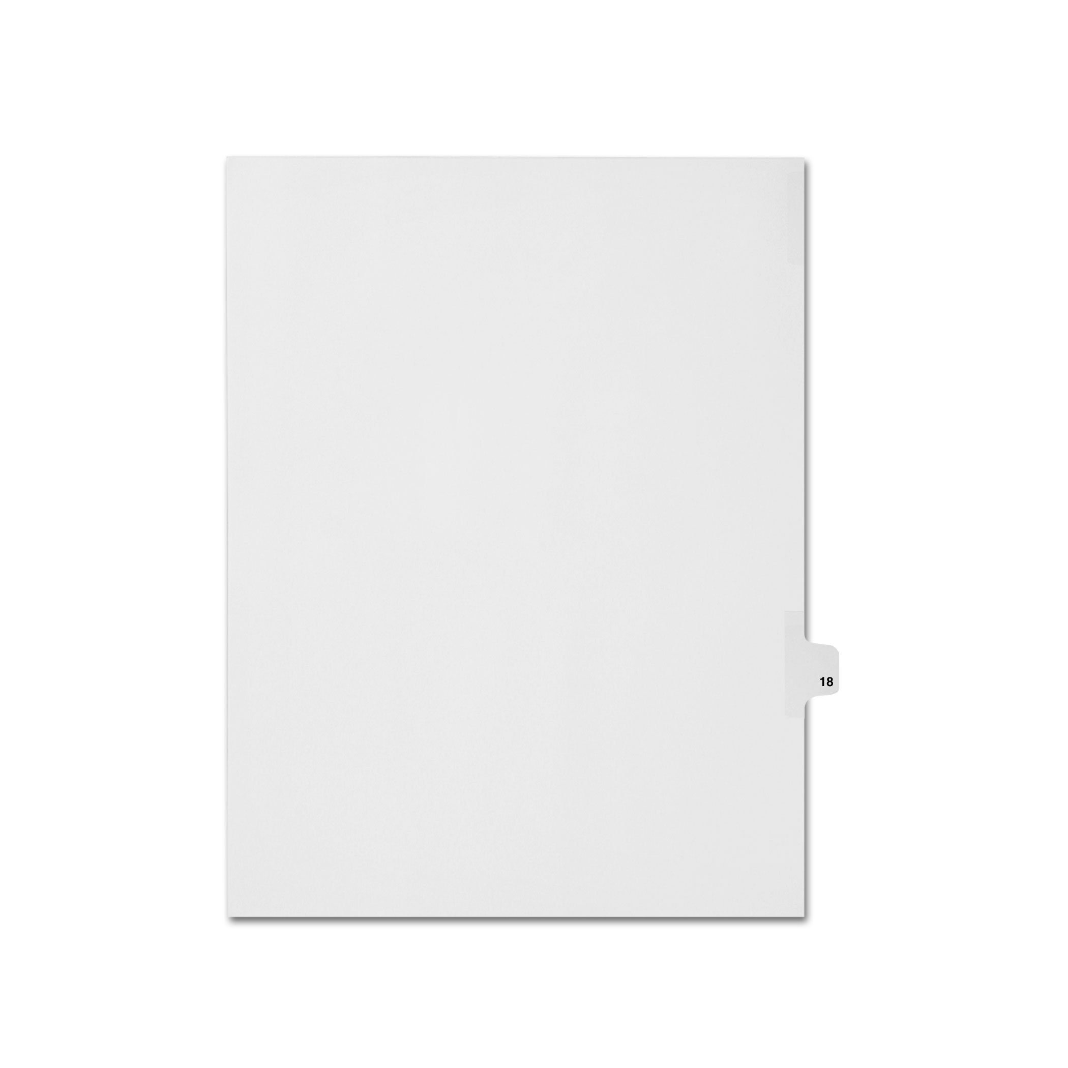 AMZfiling Individual Legal Index Tab Dividers, Compatible with Avery- Number 18, Letter Size, White, Side Tabs, Position 18 (25 Sheets/pkg)
