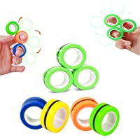 Magnetic Rings Finger Fidget Toys for Stress Relief, ADHD, Anxiety and Autism, 3 Piece Decompression Unzip Toy for Kids…