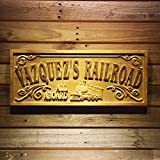 wpa0417 RAILROAD Name Personalized Train Station Lover Gift Wood Engraved Wooden Sign