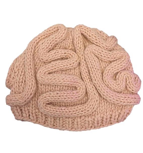 410db72463bd4 BIBITIME Unisex Handmade Knitted Brain Beanie Cap Halloween Hat (Made to  Fit Average Adult