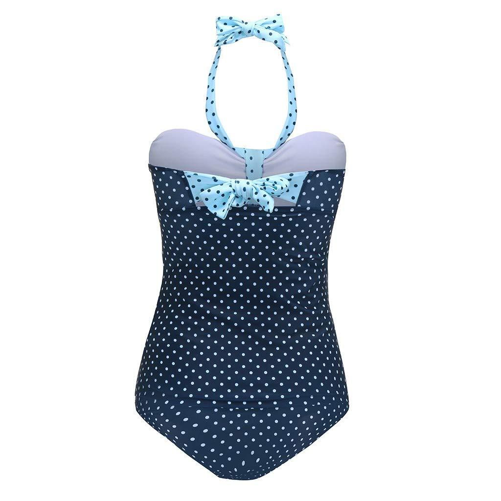 RISTHY Ba/ñador Premam/á Retro Lunares Push Up Halter Una Pieza Sin Espalada Traje de Ba/ño Deportes Tankini Ba/ñador de Una Pieza Embarazada Pregnancy Bikini para Mujer