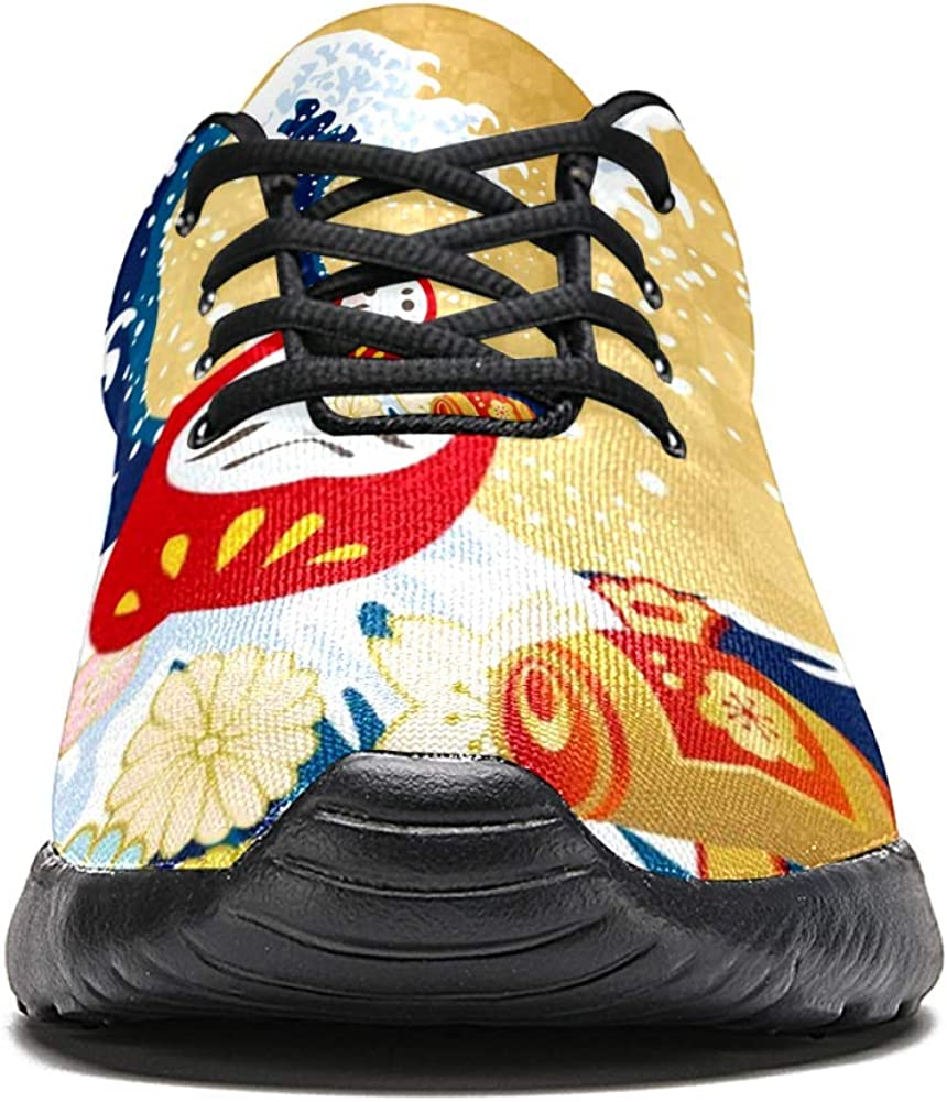 TIZORAX Zapatillas de running para hombre, diseño de cultura japonesa, de malla transpirable para caminar, senderismo, tenis, talla 4,5: Amazon.es: Zapatos y complementos