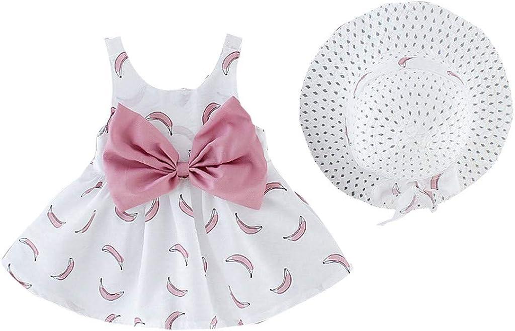 Toddler Baby Kids Girls Banana Print Princess Dress Hat Outfits Clothes
