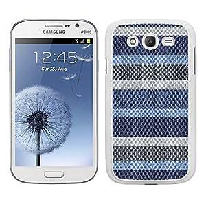 Funda carcasa TPU Gel para Samsung Galaxy Grand NEO Plus diseño rayas azul y gris efecto jersey de lana borde blanco