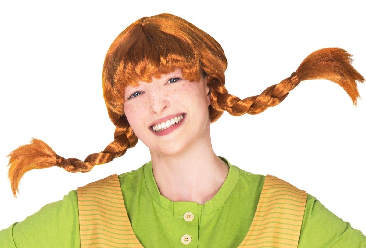 Original Pippi Langstrumpf Perücke für Erwachsene - rote Haare mit 2 Zöpfen: Amazon.es: Juguetes y juegos