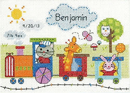 Dimensions Train Birth Record Counted Cross Stitch Kit, Baby Shower Gift, 7
