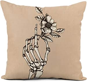rouihot Linen Throw Pillow Cover Bone Hand Skeleton Flower Funeral Love Sketch Vintage Realistic Home Decor Pillowcase 16x16 Inch Cushion Cover for Sofa Couch Bed and Car