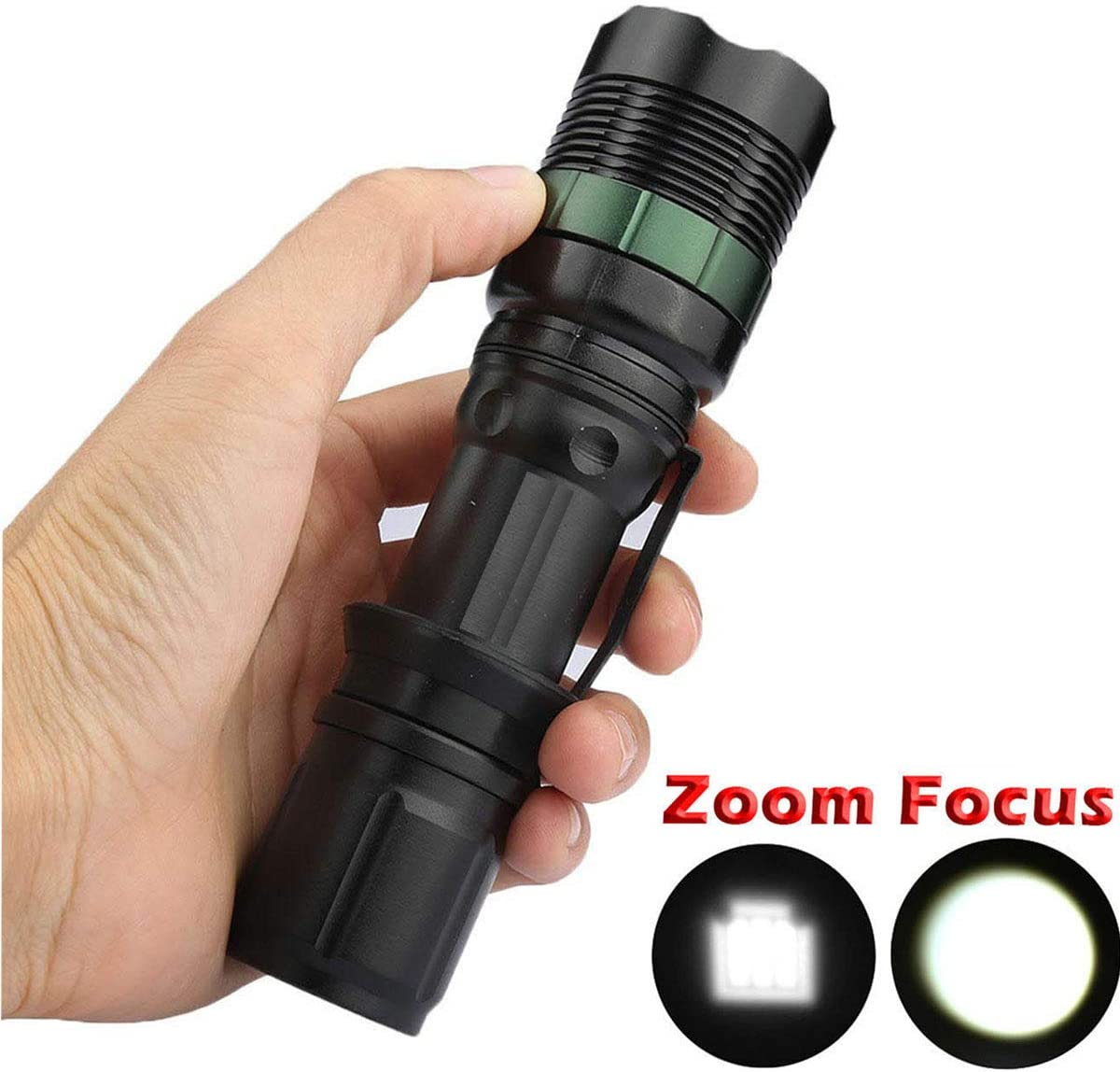 2 Set 5000Lumen T6 LED Tactical Zoomable Flashlights 5800mAh 18650 Rechargeable Li-ion Battery With Charger