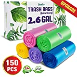 Small Wastebasket Trash Bags, 2.6 Gallon Clear Garbage Bags Extra Strong Small Trash Bags Trash Liners Small Bathroom Trash Bags For Bedroom, Home, Kitchen, 150 Counts 5 Color