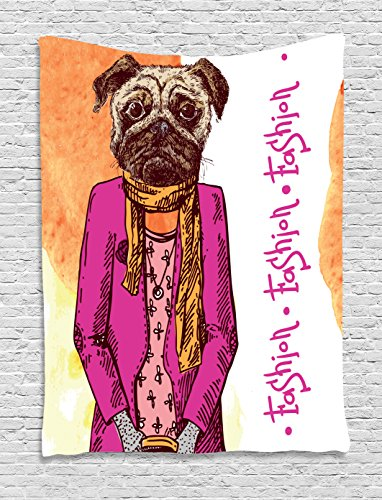 Pug Tapestry, Fashion Icon Dog with Cool Clothes Scarf Necklace Jacket