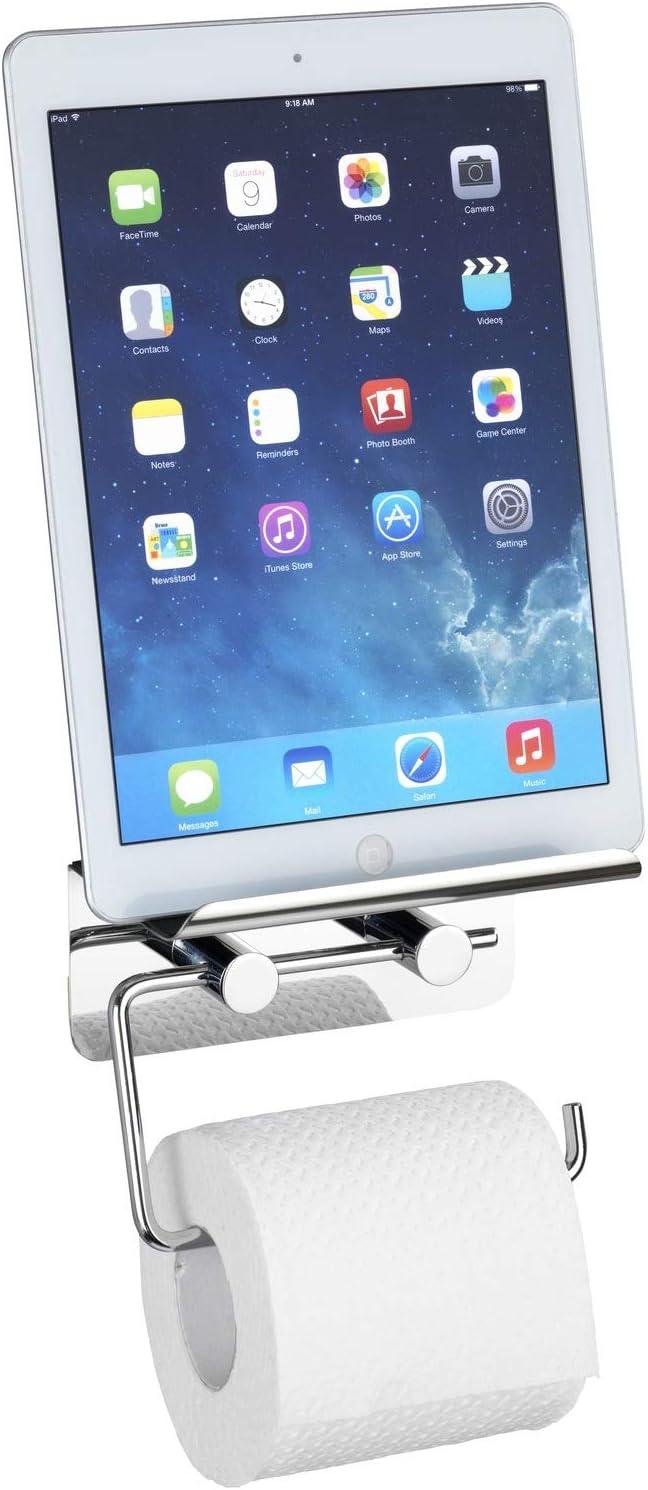14 x 11,5 x 7 cm Brillante Acero Inoxidable Wenko 21809100 con Smartphone-Estante de Papel higi/énico