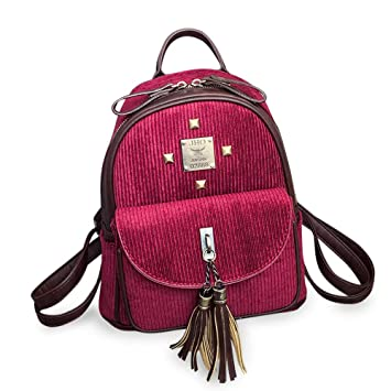 Bolsas de Hombro, Mochilas para Mujer Chica Vintage Corduroy Bolsa de Viaje Escolar Lindo a Rayas Pompon Mochila: Amazon.es: Electrónica