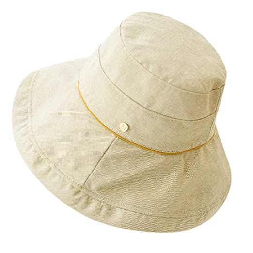002159fc06f44 YEZIJIN Women Cotton Solid Color Fisherman Cap Sunscreen Hat ...