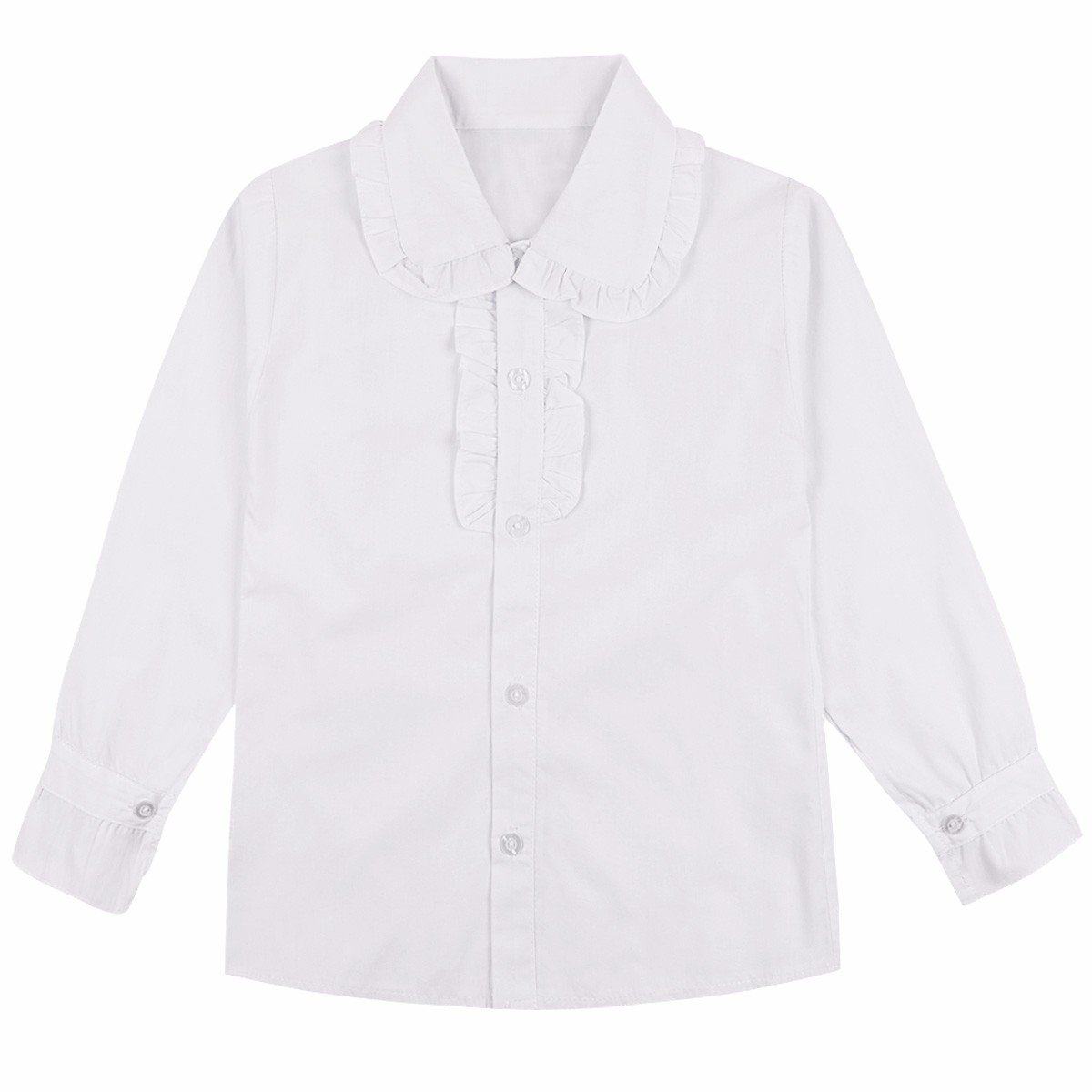 iEFiEL Girls School Uniforms Blouse Long Sleeve Cotton Button Down Oxford Shirt White 7-8