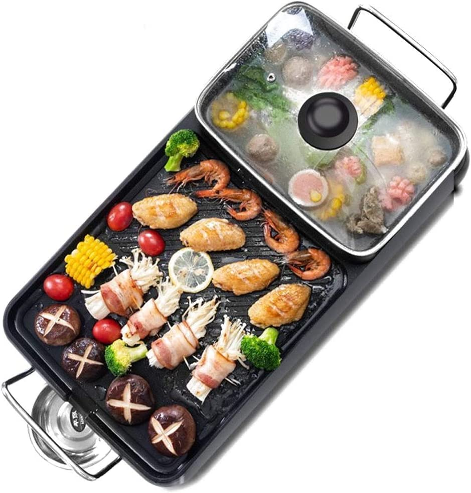 MLJ 2 In 1 Electric Barbecue Hot Pot Multifunction Cooker Durable Rectangular Roasting Pan for Barbecue Kitchen Restaurant