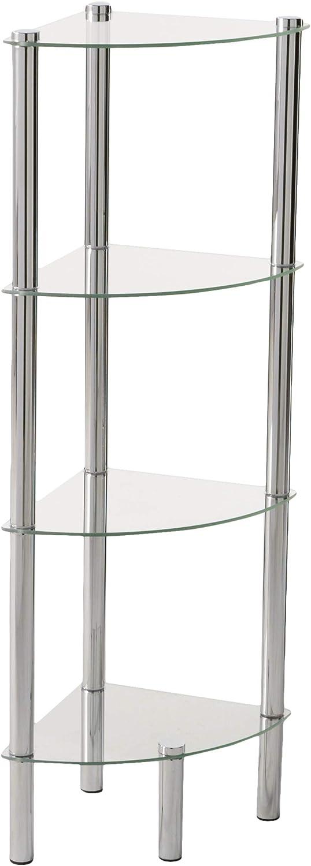 Home Basics Shelf Corner Glass, 4-Tier