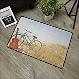 Outdoor Door mat W35 x L47 INCH Vintage,an Old Guitar and a Vintage Bike Standing in The Beach Vacation Enjoy Summer Photo Art, Blue Non-Slip Door Mat Carpet