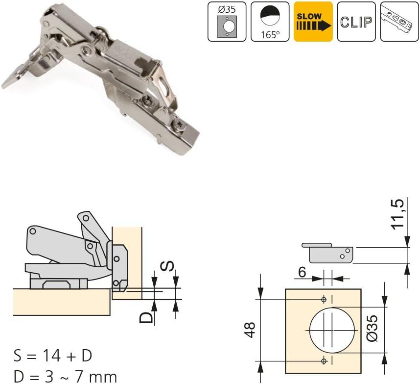 Emuca 1015307 Pack de 2 bisagras de cazoleta /Ø35mm 165/° cierre suave para puerta semi-solapada y suplementos Euro con regulaci/ón exc/éntrica