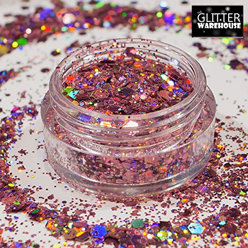 GlitterWarehouse Pink Chunky Glitter Loose Holographic Solvent Resistant Cosmetic Grade Mermaid Glitter (20g Jar) by GlitterWarehouse