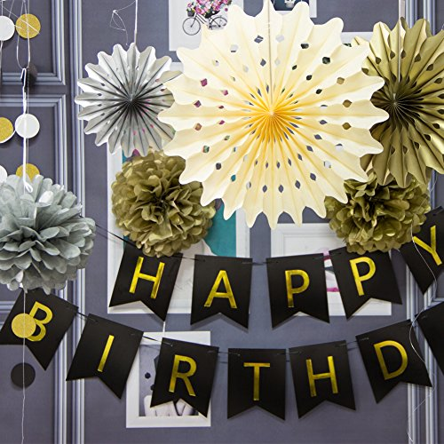 SUNBEAUTY Black And Gold Party Decorations Happy Birthday Banner Paper Fans Circle Garland Pom Poms Flowers Adult 21st 30th 50th 60th